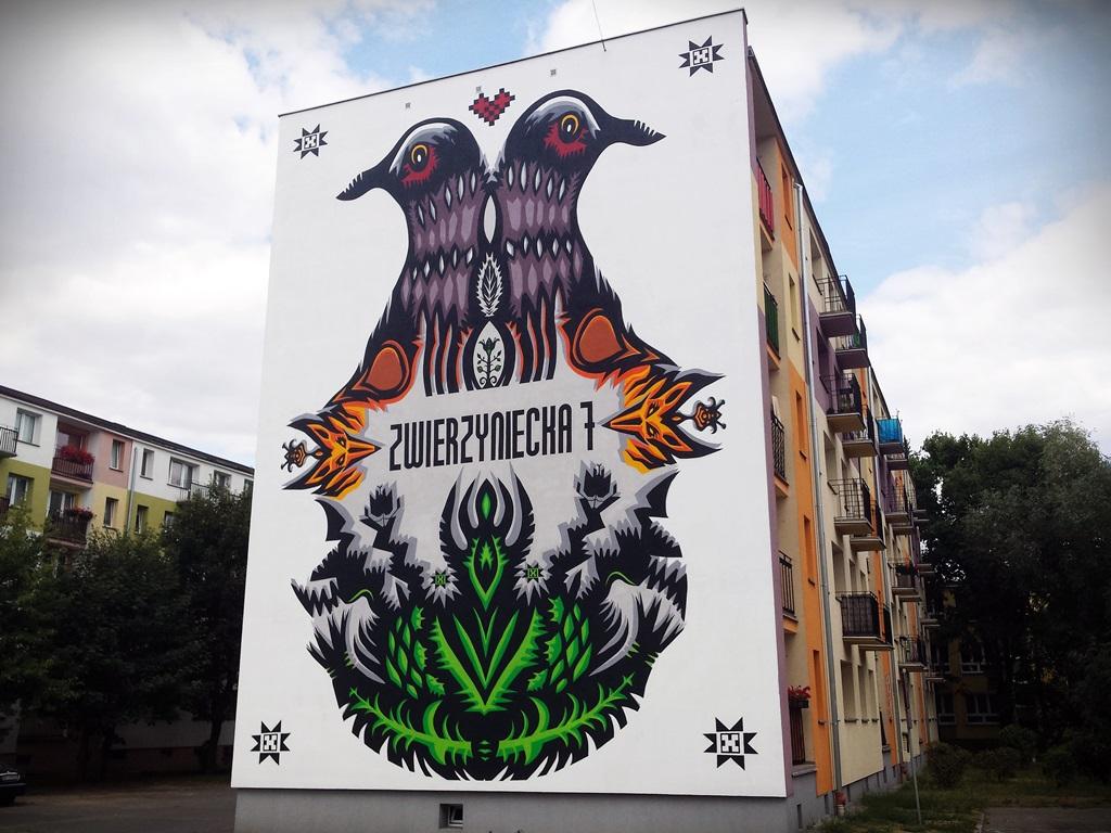 Bia ystok lisy turkawki i wycinanki na nowym muralu for Mural na tamie w solinie