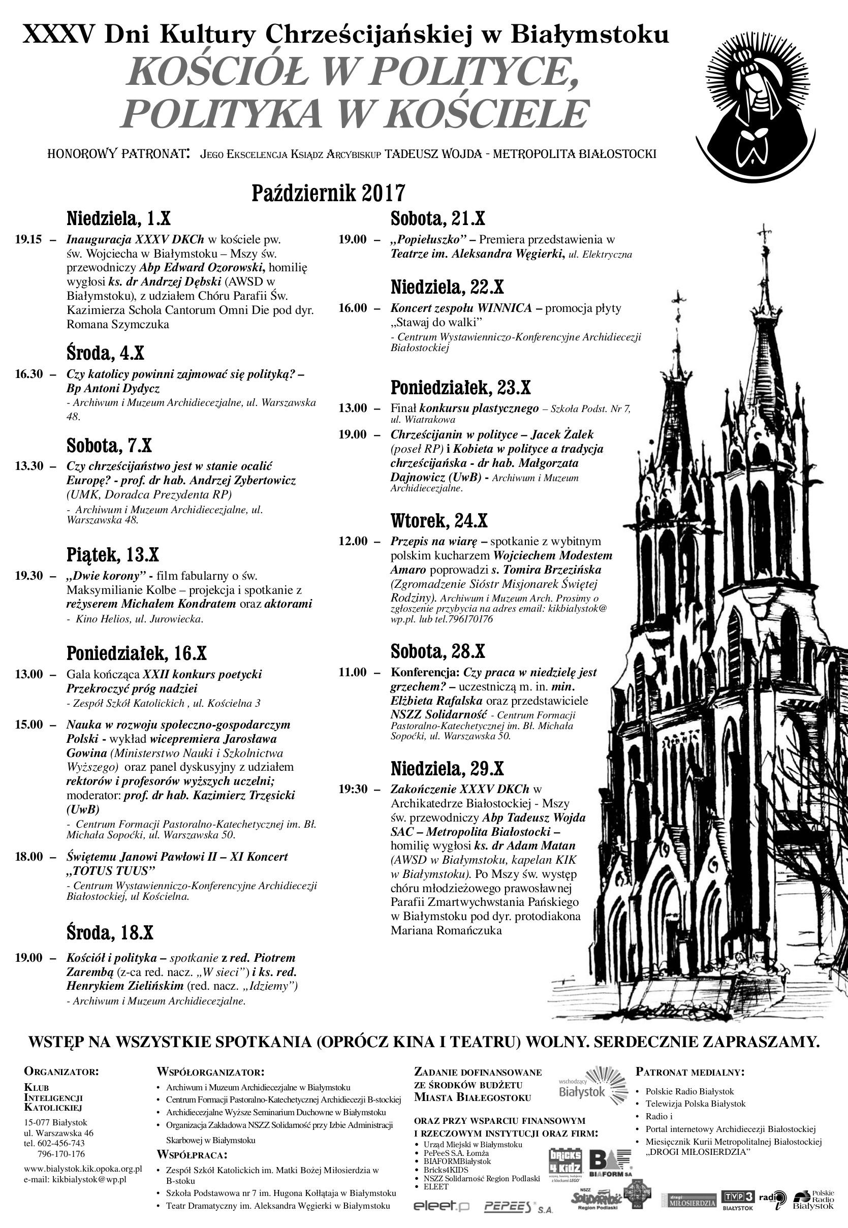 XXXV Dni Kultury Chrześcijańskiej w Białymstoku, źródło: mat. org.