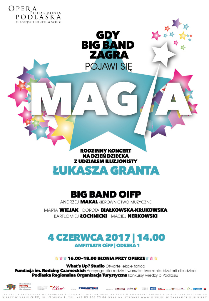 """Rodzinny koncert na Dzień Dziecka """"Gdy Big Band zagra, pojawia się magia"""" w OiFP, źródło: mat. org."""