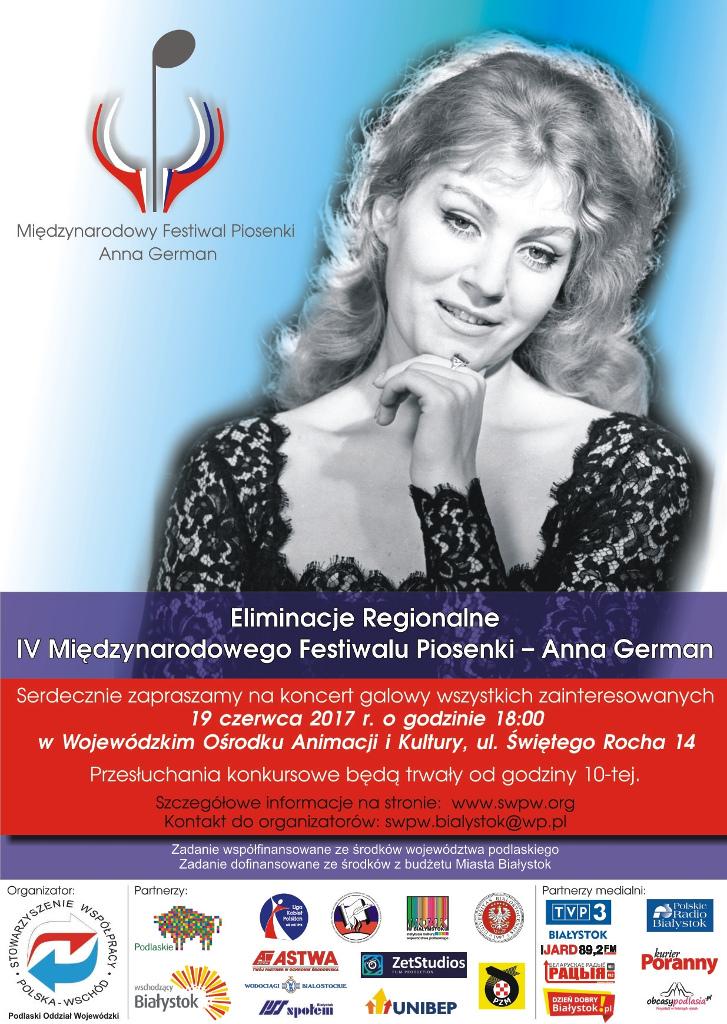 """IV Międzynarodowy Festiwal Piosenki """"Anny German"""", źródło: mat. org."""