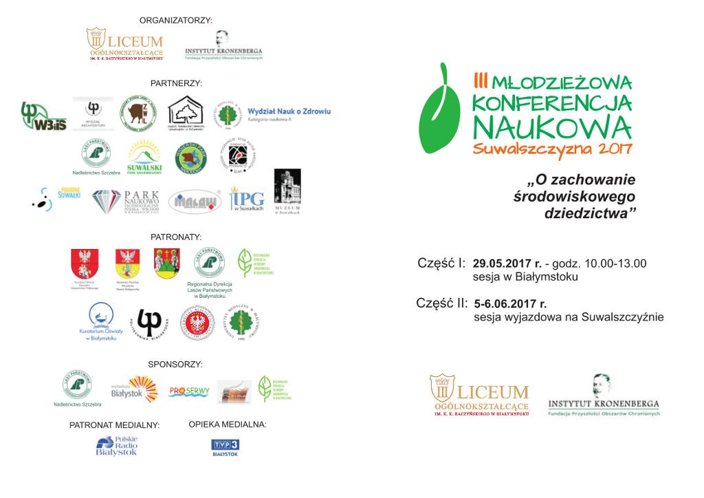 """III Młodzieżowa Konferencja Naukowa """"Suwalszczyzna 2017"""", źródło: mat. org."""