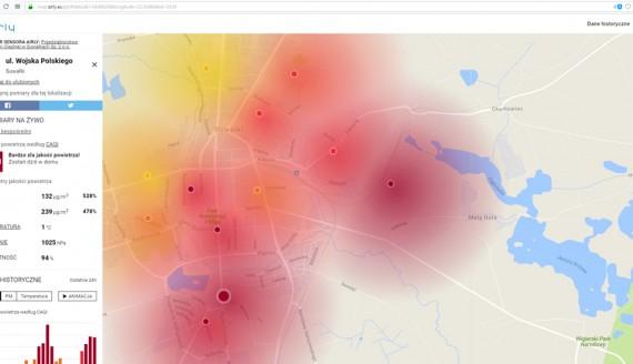 Mapa jakości powietrza w Suwałkach - zapis z godziny 10:30, fot. Iza Kosakowska
