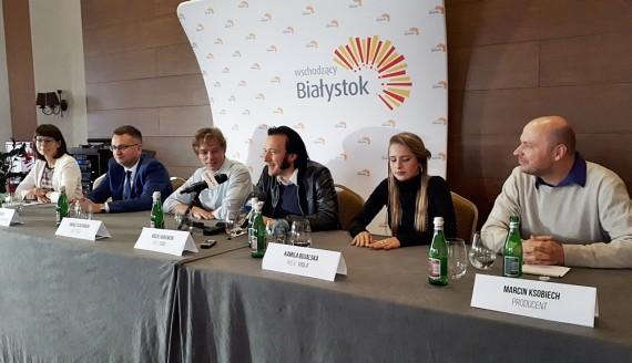 """Konferencja prasowa dotycząca filmu """"Rock'n'Roll Eddie"""", fot. Wojciech Szubzda"""