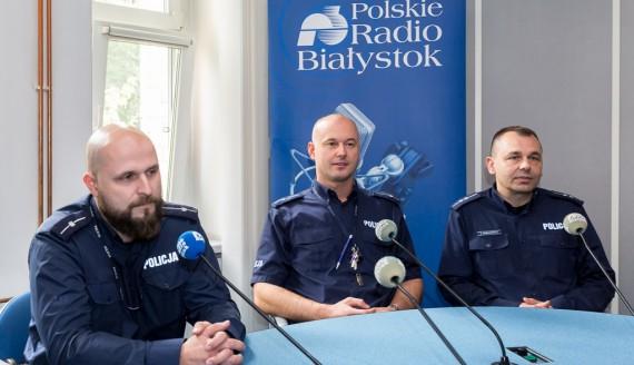 mł. asp. Krzysztof Szeszel, mł. asp. Wojciech Kosikowski, asp. Adam Romanowicz, fot. Joanna Żemojda