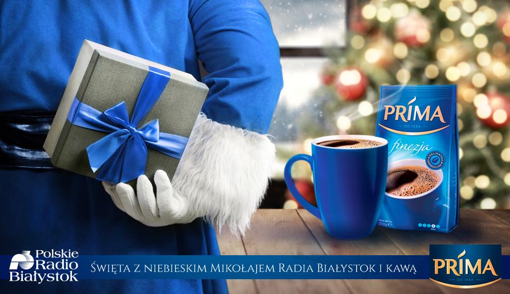 Święta z niebieskim Mikołajem Radia Białystok i kawą Prima