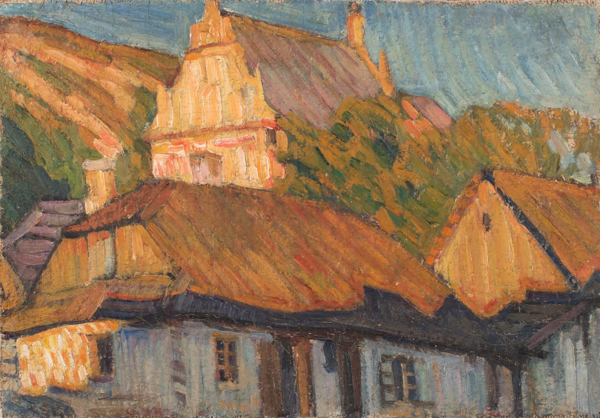 A. Szturman, Motyw z Kazimierza, płótno na płycie, olej, 30x42,5 cm