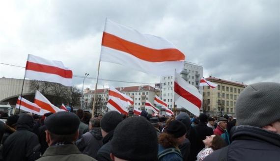 Demonstracja na ulicach Mińska - fot. PRB