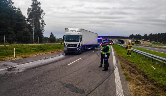 Wypadek na S8 w kierunku Białegostoku, fot. KMP Białystok