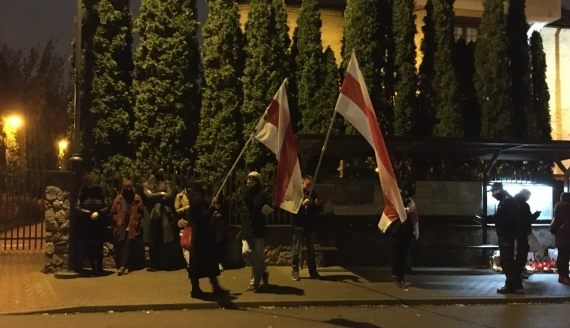 Pikieta pod konsulatem Białorusi w Białymstoku, fot. Marek Zabrocki