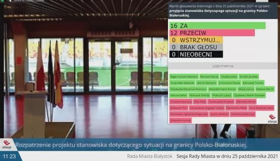 źródło: zrzut ekranu z transmisji online XLIV Sesji Rady Miasta Białystok