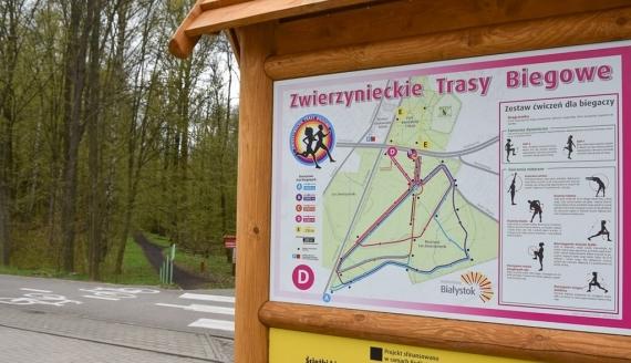 5 tras w Parku i Lesie Zwierzynieckim zostało oznaczonych za pomocą specjalnych tablic i słupków, fot. Marcin Jakowiak/UM Białystok