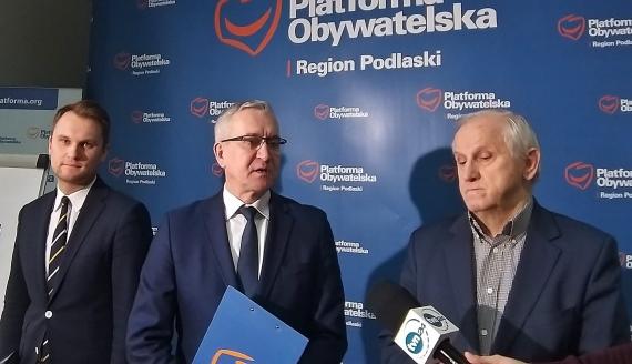 Posłowie Koalicji Obywatelskiej: Krzysztof Truskolaski, Robert Tyszkiewicz, Eugeniusz Czykiwin, fot. Edyta Wołosik