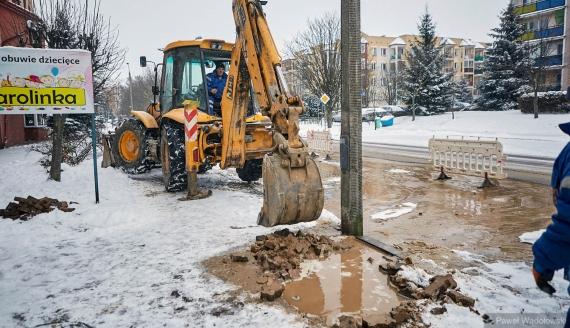 Awaria wodociągu w Łomży, fot. Paweł Wądołowski