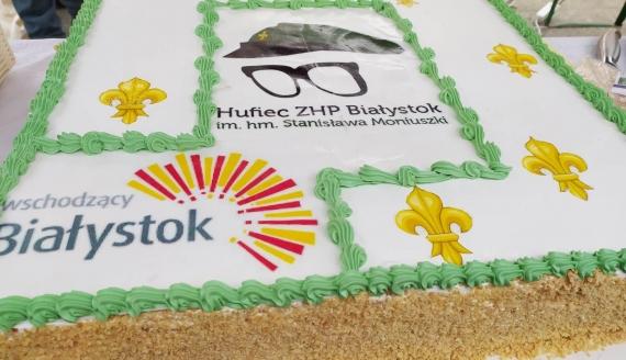 Białostoccy harcerze częstowali tortem z okazji 115. rocznicy urodzin patrona hufca, fot. Marcin Mazewski