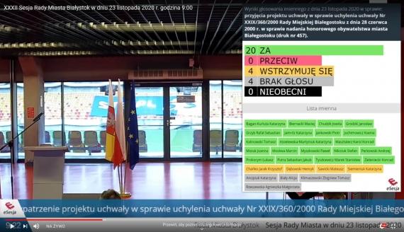 Print screen z transmisji obrad białostockich radnych