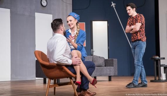 """Próba medialna spektaklu """"Boeing, Boeing"""" w Teatrze Dramatycznym, fot. Monika Kalicka"""
