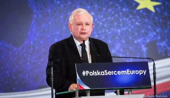 Jarosław Kaczyński na konwencji wyborczej PiS w Białymstoku, 28.04.2019, fot. Sylwia Krassowska