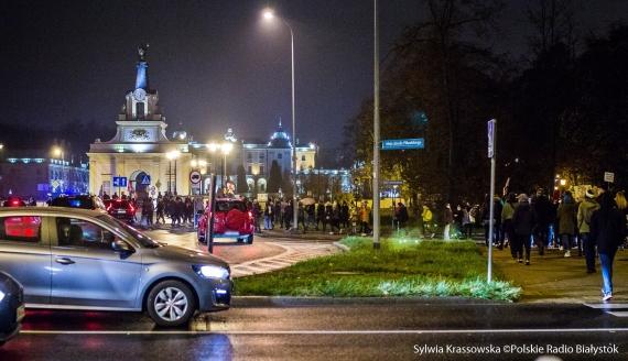 Protest na rondzie Lussy w Białymstoku, fot. Sylwia Krassowska
