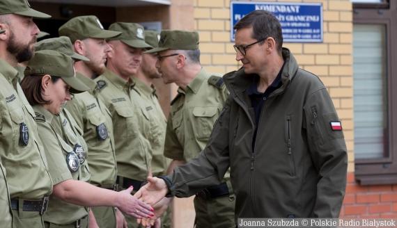 Wizyta premiera Mateusza Morawieckiego na polsko-białoruskim przejściu granicznym w Kuźnicy, fot. Joanna Szubzda