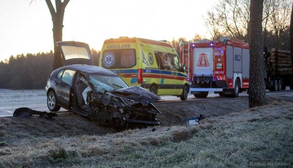 Wypadek na DK 63, fot. Paweł Wądołowski