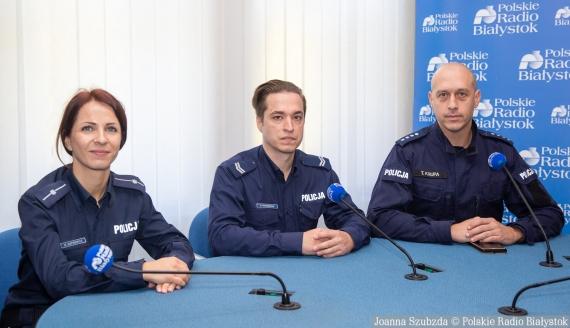 mł. asp. Emilia Kuprewicz, st. sierż. Bartosz Walendziuk i nadkom. Tomasz Krupa, fot. Joanna Szubzda
